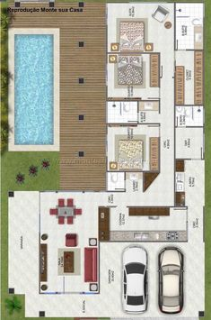 House Plans: 60 Modern, Small and Photo Options L Shaped House Plans, Pool House Plans, Sims House Plans, House Layout Plans, Dream House Plans, House Layouts, Small House Plans, Model House Plan, Home Design Floor Plans