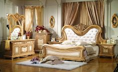 Gorgeous Gold & Ivory Master Bedroom!
