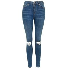 Women's Topshop Moto Jamie Ripped High Rise Ankle Skinny Jeans (214.875 COP) ❤ liked on Polyvore featuring jeans, high waisted jeans, high-waisted jeans, blue jeans, high waisted distressed jeans and denim skinny jeans