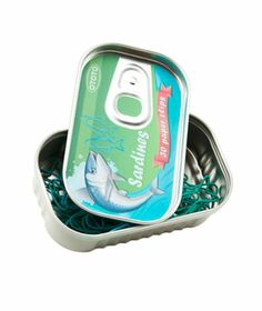 Sardine Paper Clips , shaped and colored like a sardine.  Does Dad like sardines?  I think it is just nine dollars.
