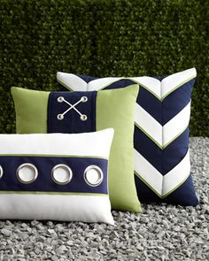 Navy & White Outdoor Pillows by ELAINE SMITH at Neiman Marcus.