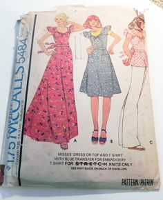 """1970s Boho Ruffled Sleeves Peasant Maxi Dress T-shirt sewing pattern McCalls 5484 Size 8 Bust 31.5"""" UNCUT by retroactivefuture on Etsy"""
