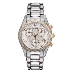 Ladies' Bulova Anabar Diamond Accent Watch in Two-Tone Stainless Steel with Mother-of-Pearl Dial (Model: 98R149)