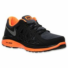 Men's Nike Dual Fusion Run 2 Running Shoes | FinishLine.com | Anthracite/Silver/Total Orange