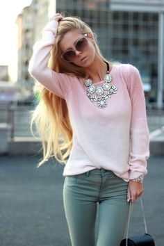 light pink top, statement necklace, olive green skinnies