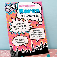 LOVE this printable superhero invite from OwliePowlie on Etsy