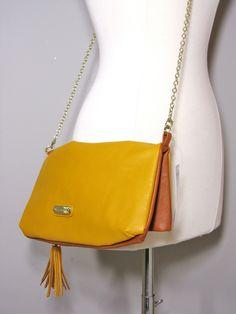 STEVE MADDEN Mustard Yellow PU Leather Clutch Bag Purse Handbag Gold Chainlink 762670006248 | eBay
