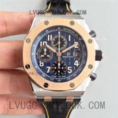 43437148088 Replica Audemars Piguet Royal Oak Offshore JF Best Edition SS Case Rose  Gold Bezel Blue Dial