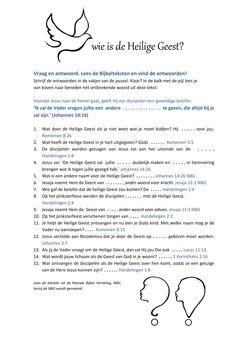 1 Wie is de Heilige Geest? vragenblad bij de puzzel ( blad 2) www.bijbelidee.nl Christian Kids Crafts, Personal Prayer, Bible Lessons For Kids, Pentecost, Bible Crafts, New Testament, Sunday School, Jesus Christ, Crafts For Kids