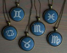 Zodiac sign necklace Cross stitch necklace от skrynka на Etsy