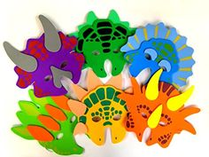 1 Dozen Foam Dinosaur Masks, Party Favors For Children, by Playscene (12 Dinosaur Masks) - Introducing 'Playscene' brightly colored Foam Dinosaur Masks! Soft to touch, will not aggravate children's skin, has elastic band to adjust if needed - One size fits all, from children to early teens.. Grab a set for that next special occasion and party like a dinosaur!!!!!!!!!