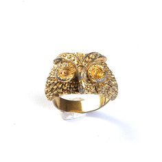 '70s Gold Tone Owl Ring