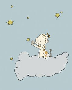 Giraffe Nursery Art Giraffe Star Cloud by SweetMelodyDesigns