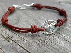 Sterling Silver Heart Leather Bracelet Artisan Bracelet Red Leather