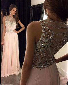 Long Chiffon Evening Prom Dresses Sexy Beaded Formal Party Bridesmaid Dresses | eBay