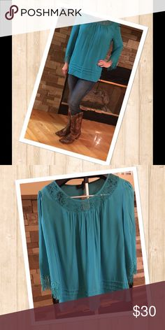 Fringe Sleeve with Embroidered Neckline Top (Teal) Melissa Paige teal blouse with fringe detailing on the sleeves.  Has embroidered neckline with detail stitch at the bottom.  Great fall color!  NWT.  Make an offer!!! Melissa Paige Tops Blouses