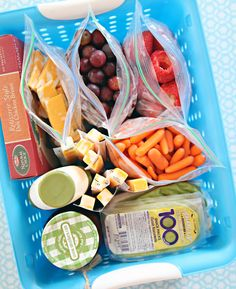 Lunch basket in fridge for easy lunchbox assembly during the week --- IHeart Organizing: Back To School Organization