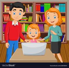 Cartoon happy family watching a laptop vector image on VectorStock Page Borders Design, School Clipart, Video X, Classroom Rules, Home Learning, Aesthetic Stickers, Preschool Worksheets, Cartoon Kids, Happy Family