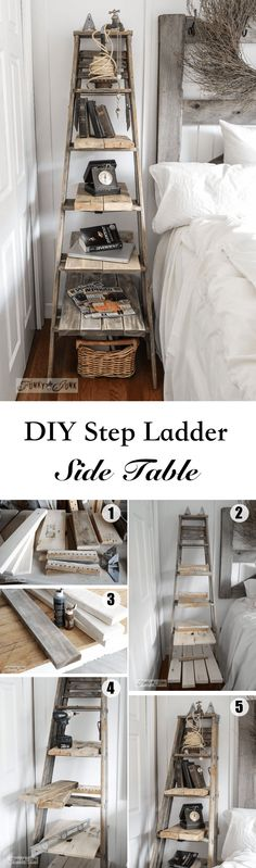 DIY Step Ladder Side Table / ight for Space for a Side Table? Go UP With a Ladder!