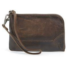 Frye 'Melissa' Wristlet (835 SEK) ❤ liked on Polyvore featuring bags, handbags, clutches, slate, brown wristlet, brown purse, frye purse, wristlet clutches ve frye handbags