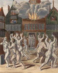"Nude runners in Amsterdam, 1535. Anonymous, 1650 - 1749. Rijksmuseum.     ""A large group of baptists walks naked and calling through the streets of Amsterdam. Some of them are seized by soldiers."""