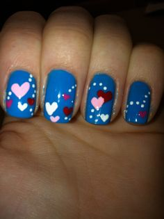 Valentines Nails, Overlapping Hearts, Multi Color Heart Nails, Red Pink and White Heart Nails