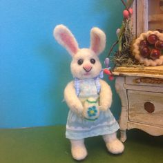 OOAK, Needle Felted Bunny, Easter Bunny Hand Sculpted, Fiber Artist Collectible by weewooleybeasties on Etsy