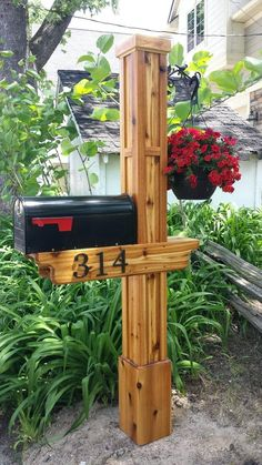 Mission Style with Hanging Planter Cedar Mailbox Post, Mailbox Garden, Wooden Mailbox, Mailbox Landscaping, Mailbox Ideas, Diy Mailbox, Mailbox Designs, Rustic Mailboxes, Unique Mailboxes