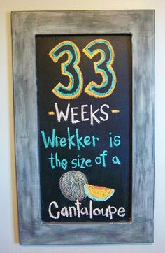 Pregnancy Chalkboard Week 33 Template Ideas Weeks Pregnant Cantaloupe