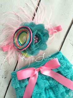 Teal, Hot Pink, Pink, & Lime Lace Bloomers and Headband- Diaper Cover, newborn, baby girl, toddler, birthday, flowers, cake smash