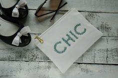 Chic cosmetic bag makeup beaded pouch ivory by BraveAndStylish