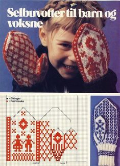 Selbu mittens for children and grownups - Knitting Knitted Mittens Pattern, Intarsia Knitting, Knitting Charts, Knitted Gloves, Baby Knitting Patterns, Knitting Socks, Hand Knitting, Knit Or Crochet, Tejidos