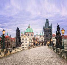 On the Charles bridge towards Old Town, Prague, Czechia #city #Prague #Czechia