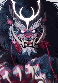 Monster_Face monster_face raising a kitten - Kittens Samurai Artwork, Fu Dog, Japanese Tattoo Art, Dope Art, Art Graphique, Japan Art, Creature Design, Amazing Art, Fantasy Art