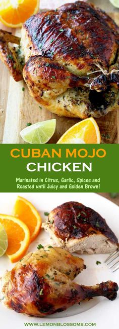 This Cuban Mojo Chicken is infused with a flavorful Mojo marinade made with citrus, garlic and spices, then oven roasted until golden brown, juicy and tender! This mouthwatering Mojo Chicken is perfect for dinner any day of the week and also fabulous for company! #chickendinner #CubanMojo #Mojo #roastedchicken #chickenrecipe via @lmnblossoms