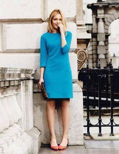 Love this blue shift dress!