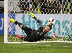 #EURO2016 Goalkeeper of Portugal Rui Patricio stops the penalty of Jakub Blaszczykowski of Poland during the penalty shootout leading to the victory of...