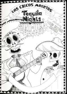 Los Chicos Muertos - Tequila Nights - by VKorpela Thought Provoking, User Profile, Tequila, Doodles, Deviantart, Illustrations, Artist, Fictional Characters, Design