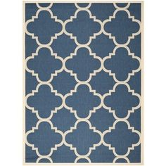 Safavieh Courtyard Quatrefoil Navy/ Beige Indoor/ Outdoor Rug - x (navy/beige - x Blue (Polypropylene, Geometric) Coastal Area Rugs, Patio Rugs, Navy Rug, Herefordshire, Indoor Outdoor Area Rugs, Outdoor Living, Outdoor Carpet, Outdoor Areas, Outdoor Decor