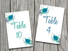 INSTANT DOWNLOAD Peacock Table Number Cards Microsoft Word Template - Peacock Feathers Wedding Table Number - Blue Green Peacockby PaintTheDayDesigns, $9.00