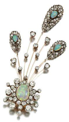 Opal, diamond and pearl. Aigrette; 1890s