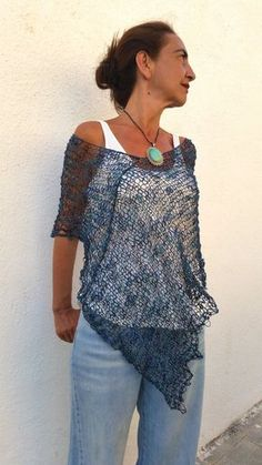 Navy blue knit poncho for women cotton dress top womens poncho hand knit blue wrap gifts for wife cotton summer poncho Knit Baby Sweaters, Sweaters And Jeans, Poncho Sweater, Sweaters For Women, Crochet Capas, Estilo Jeans, Ladies Poncho, Knit Wrap, Crochet Poncho