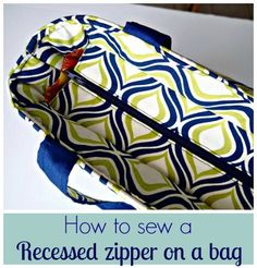 Great video on how to sew a recessed zipper for a bag.  This is the easiest & clearest way I've seen to do it.