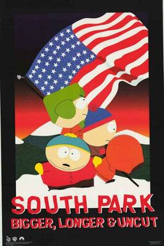 A great poster of the boys from South Park raising the US flag to celebrate the release of their movie Bigger, Longer,and Uncut! Published in 1999. Fully licensed. Ships fast. 22x34 inches. Check out