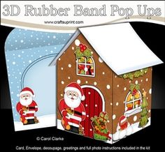 3D Rubber Band Pop Up Christmas Card - Santa Has A Christmas Stocking At The Christmas Gingerbread House