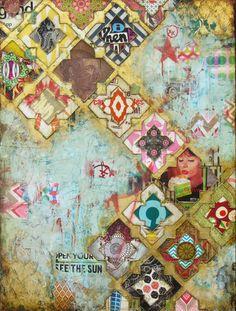 Jill Ricci Open Your Eyes mixed media on canvas Mixed Media Collage, Collage Art, Collages, Illustrations, Illustration Art, Mix Media, Textile Artists, Art Journal Inspiration, Art Journal Pages
