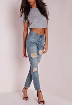 Missguided - riot retro high rise ripped mom jeans vintage blue Jean Troué 182d6474975