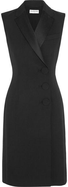Balenciaga Satin-Trimmed Crepe Dress