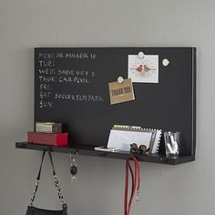 Metal Chalkboard with Shelf in Home Office Accessories Home Office Accessories, Kitchen Accessories, Command Center Kitchen, Crate Storage, Home Organization, Organizing Ideas, House Rooms, Crate And Barrel, Decoration