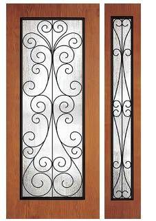 3/0 x 6/8 Woodgrain Series: Flush Full Lite & Sidelite w/ Camelia Wrought Iron